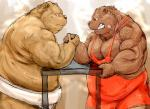 2016 arm_wrestling barazoku bear clothing duo grizzly_bear kemono kotobuki male mammal muscular obese overweight simple_background standing steam sweat underwear vein wrestling_singlet
