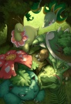 2011 ambiguous_gender claws detailed_background feral flora_fauna flower forest grass green_theme group meganium nature nintendo one_eye_closed outside plant pokémon pokémon_(species) quirkilicious red_eyes sceptile serperior sleeping torterra tree tree_trunk venusaur video_games wood yellow_eyes