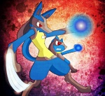 ambiguous_gender anthro aura black_fur blue_fur canine duo fur hi_res lucario mammal nintendo pokémon pokémon_(species) red_eyes riolu unknown_artist video_games yellow_fur