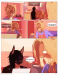 angellove44 anthro bailey_(angellove44) black_hair blonde_hair blush canine clothed clothing comic dog duo eyewear glasses hair kale_(angellove44) male mammal pink_eyes text