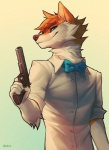 2017 5_fingers anthro blue_eyes canine clothed clothing dog falvie fur hair holding_object holding_weapon mammal orange_fur orange_hair simple_background smile solo weapon white_background