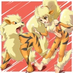 alternate_species arcanine canine cosplay duo female feral hair human humanized low_res mammal nintendo orange_eyes pokémon pokémon_trainer ponytail ranphafranboise video_games white_hair