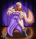 absurd_res anthro big_breasts breasts claws clothing dinosaur dress feathered_dinosaur feathers female gigantoraptor hi_res kleine_stimme muffin_top singing solo triasRating: SafeScore: 4User: DaneasaurDate: November 24, 2017