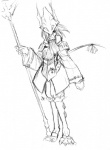 abluedeer anthro armor burmecian female final_fantasy final_fantasy_ix freya_crescent mammal melee_weapon monochrome polearm rat rodent solo spear square_enix video_games weapon