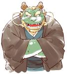 anthro clothing dragon facial_hair garouzuki grin horn kemono male obese overweight overweight_male scalie sharp_teeth smile teeth whiskers