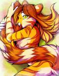 2014 5_fingers anthro brown_hair feline female fluffy hair mammal neotheta nude solo tail_hug tiger yellow_eyes