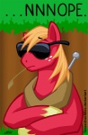 big_macintosh_(mlp) cel_shading crossed_arms denied earth_pony english_text equine eyewear feral forest freckles friendship_is_magic front_view frown fur hair hooves horse image_macro male mammal mouth_hold my_little_pony nope orange_hair outside pony reaction_image red_fur solo sunglasses texasuberalles text toony tree wood yoke