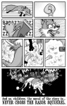 ambiguous_gender canine comic dc_simpson duo ears_down english_text feral fox greyscale hi_res humiliation laugh mammal mean mocking monochrome razor_(object) razor_squirrel rodent scarlet_fox shaved shaving sound_effects squirrel surprise text trap_(contrivance)Rating: SafeScore: 1User: MDBDate: November 02, 2009