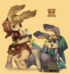 anthro apple apron blue_eyes blush bottomless butt claws clothed clothing cornelius cute duo eating female food fruit hindpaw lagomorph looking_at_viewer male mammal odin_sphere odinsphere paws pooka pose rabbit ricosye velvet_(odin_sphere)Rating: SafeScore: 11User: Kitsu~Date: October 30, 2009