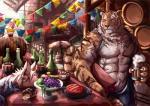 2017 anthro canine clothed clothing digital_media_(artwork) fd-caro feline fur hi_res kemono male mammal muscular pecs tiger toplessRating: SafeScore: 1User: Rysaerio-MisoeryDate: September 26, 2017