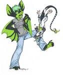 2007 <3 anthro attack bat duo female green_eyes green_hair green_markings green_tongue hair leg_grab mammal markings marsupial opossum size_difference virginia_opossum zeriaraRating: SafeScore: 1User: The Dog In Your GuitarDate: May 12, 2007