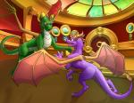 2015 brown_eyes claws detailed_background digital_media_(artwork) dragon duo feral jewel-thief membranous_wings purple_eyes scalie smile spyro spyro_the_dragon the_legend_of_spyro video_games western_dragon wings