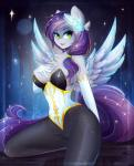 anthro breasts cutie_mark equine eyelashes fan_character feathered_wings feathers fur green_eyes grey_feathers grey_fur hi_res kneeling koveliana mammal my_little_pony pegasus smile wide_hips wings