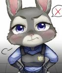 anthro badge blue_eyes blush breasts clothed clothing disney eyelashes female frown fur grey_fur hi_res judy_hopps kinokoningen lagomorph looking_at_viewer mammal police police_uniform rabbit raised_eyebrow reaction_image solo speech_bubble uniform zootopia