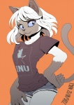 2015 5_fingers :3 anthro arched_back bangs black_claws black_shirt blue_eyes booty_shorts breasts brown_countershading brown_fur brown_markings brown_nose brown_tail canine cat cheek_tuft claws clothed clothing collarbone colored_eyelashes countershade_face countershading denim digital_media_(artwork) dog eyebrows eyebrows_visible_through_hair eyelashes eyes_visible_through_hair feline female front_view fully_clothed fur gloves_(marking) hair hand_on_hip inner_ear_fluff kemono looking_down mammal markings medium_breasts mouth_closed multicolored_fur nogi orange_background pockets portrait raised_tail sharp_claws shirt short_hair short_sleeves shorts siamese signature simple_background skinny_tail solo standing t-shirt three-quarter_portrait tuft two_tone_fur whiskers white_fur white_hairRating: SafeScore: 16User: SchuppoDate: June 24, 2017