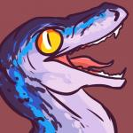 absurd_res ambiguous_gender blue_(jurassic_world) blue_body blue_markings ciphir dinosaur fangs feral headshot_portrait hi_res jurassic_park jurassic_world long_mouth looking_at_viewer markings no_sclera open_mouth portrait raptor reaction_image red_background scalie sharp_teeth side_view simple_background slit_pupils snout solo spots teeth theropod tongue white_body yellow_eyes