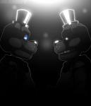 animatronic bear blubot digital_media_(artwork) duo five_nights_at_freddy's freddy_(fnaf) glowing glowing_eyes hat machine mammal robot simple_background top_hat video_gamesRating: SafeScore: 1User: Rysaerio-MisoeryDate: March 31, 2017