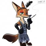 2017 3_toes 4_fingers anthro armwear barefoot big_eyes big_head black_clothing brown_fur canine cigarette cigarette_holder clothed clothing crossdressing dipstick_ears dipstick_tail disney dress elbow_gloves fanartiguess feathers fox full_portrait fully_clothed fur gloves half-closed_eyes hand_on_hip holding_object male mammal multicolored_fur multicolored_tail naughty_face nick_wilde orange_fur pearl_necklace portrait signature simple_background smile smoke solo standing tan_fur toes toony url white_background zootopiaRating: SafeScore: 2User: Rysaerio-MisoeryDate: October 17, 2017