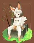 bikini blush clothed clothing female fur fuyunon hair hindpaw lagomorph loincloth looking_at_viewer mammal paws rabbit red_eyes short_hair sitting skimpy solo swimsuit tight_clothing tree unknown_species white_fur white_hair wood youngRating: SafeScore: 1User: Kitsu~Date: October 30, 2009