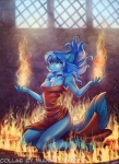 5_fingers anthro blue_eyes blue_fur blue_hair canine clothed clothing collar detailed_background dog female fire fur hair imanika ketty-leopardess kneeling mammal smile soloRating: SafeScore: 17User: MillcoreDate: April 23, 2017