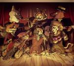 anthro bear canine disney feline fox group hyena lion male mammal music musical_instrument mustelid nicolaswildes_(artist) otter sound tiger wolf zootopiaRating: SafeScore: 3User: slyroonDate: February 08, 2018