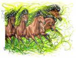 2011 ambiguous_gender anisis black_hair brown_fur equine feral fur green_eyes group hair hooves horse mammal traditional_media_(artwork)Rating: SafeScore: 4User: MillcoreDate: June 21, 2018