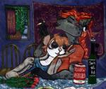 alcohol anthro beverage breah_wren ear_piercing female finian_wren hair hi_res hyena katyech male mammal marsupial piercing red_hair romantic smoking spots sugar_glider