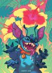2016 4_arms 4_fingers alien antennae back_spines blue_claws blue_eyes blue_fur blue_nose chest_tuft claws collar crazed disney doirn_(artist) drooling experiment_(species) fangs flower fur gradient_background head_tuft hi_res hibiscus lilo_and_stitch looking_at_viewer multi_arm multi_limb notched_ear plant saliva simple_background solo stitch tropical tuftRating: SafeScore: 5User: BooruHitomiDate: May 21, 2017