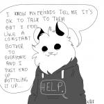 absurd_res ambiguous_gender anthro clothing dialogue drawdroid english_text fangs hi_res hoodie ian_(drawdroid) mammal marsupial opossum smile solo speech_bubble text the_truth