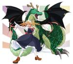 animal_humanoid breasts clothed clothing dragon dragon_humanoid dress duo fangs footwear hair horn humanoid long_hair maid_uniform miss_kobayashi's_dragon_maid open_mouth pointing red_eyes shoes teeth tohru_(character) uniform wings れいあRating: SafeScore: 10User: SwiperTheFoxDate: February 27, 2017