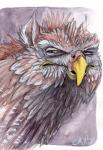 ambiguous_gender avian beak feral gryphon ironfeathers mixed_media pencil_(artwork) reaction_image solo traditional_media_(artwork) watercolor_(artwork) yellow_eyes