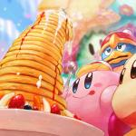 alien anthro avian bird blue_eyes blue_skin blurred_background blush brown_eyes clothing food fork fruit gloves group half-closed_eyes hand_on_head hat holding_object king_dedede kirby kirby_(series) licking licking_lips low-angle_view mittens nintendo nude pancake pink_skin plate red_skin sitting smile stack strawberry sweat tongue tongue_out toony vertical_bar_eyes video_games waddle_dee waddling_head みしお