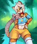 2017 4_fingers absurd_res anthro blowing_kiss blue_eyes bulge clothed clothing collar crossdressing digital_media_(artwork) feline front_view fur girly hair hand_on_hip hi_res looking_at_viewer male mammal multicolored_fur one_eye_closed portrait shorts smile solo standing striped_fur stripes three-quarter_portrait tiger white_hair wink zerolativityRating: SafeScore: 4User: StrongbirdDate: June 22, 2017