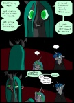... ?! changeling clothing comic equine feral friendship_is_magic group hair horn mammal metal_(artist) my_little_pony princess_celestia_(mlp) queen_chrysalis_(mlp) scratches shining_armor_(mlp) smile unicorn winged_unicorn wings