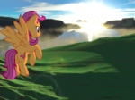 2012 3d_(artwork) 4:3 aged_up bay cliff cloud cub cutie_mark digital_media_(artwork) equine feathered_wings feathers female feral flying friendship_is_magic fur grass hair hi_res hill hooves landscape lens_flare mammal mane my_little_pony orange_body orange_feathers orange_fur outside pegasus purple_eyes purple_hair scootaloo_(mlp) sea sky solo sunrise supuhstar vector water wings young