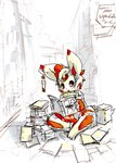 anthro book by-nc-nd creative_commons cute front_view fur holding_book holding_object lagomorph library male mammal open_mouth open_smile rabbit red_eyes sitting sketch smile solo stack toony tysontan white_fur