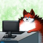 2016 :3 abstract_background anthro black_nose blue_eyes canine computer conditional_dnp cute empty_eyes eyewear fox fur glasses keyboard male mammal multicolored_fur poof ratte red_fur solo two_tone_fur white_fur