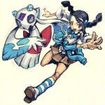 clothed clothing duo female froslass human looking_at_viewer low_res mammal may_dog nintendo not_furry pokémon pokémon_trainer simple_background video_games white_background