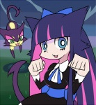 animal_humanoid cat cat_humanoid clothing crossover dress duo feline female gothic_lolita hair human humanoid legwear lolita_(fashion) long_hair mammal nei_chi nintendo panty_and_stocking_with_garterbelt pokémon pokémon_(species) purrloin stocking_(pswg) stockings video_games
