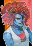 2017 absurd_res alpha_channel alternate_costume alternate_form alternate_hairstyle animal_humanoid arainmorn biceps biped blue_scales breasts bust_portrait clothed clothing collarbone ear_frills eye_patch eyewear female fish fish_humanoid frill front_view gills gouache_(artwork) hair half-closed_eyes headband hi_res high-angle_view humanoid looking_away marine orange_background outline pattern_background pink_background portrait red_clothing red_hair red_topwear scales short_hair simple_background small_breasts smile solo striped_background traditional_media_(artwork) transparent_background undercut undershirt undertale undyne video_games watercolor_(artwork) white_clothing white_topwear yellow_scleraRating: SafeScore: 8User: DiceLovesBeingBlownDate: October 09, 2017