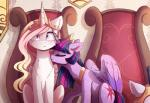 detailed_background duo equine eyelashes feathered_wings feathers female feral friendship_is_magic fur hair horn magnaluna mammal my_little_pony narrow_eyes pink_hair purple_feathers purple_fur purple_hair sitting smile twilight_sparkle_(mlp) white_fur winged_unicorn wingsRating: SafeScore: 10User: MillcoreDate: March 30, 2017