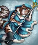 5_fingers anthro blue_eyes breasts brown_hair cleavage clothed clothing eyebrows eyes_closed feline female fluffy fluffy_tail fur hair legwear looking_at_viewer lying mammal robyn_paperdoll smile solo staff striped_fur stripes thigh_highs tigerRating: SafeScore: 7User: MillcoreDate: June 21, 2017