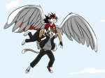 2015 anthro black_hair black_nose brown_fur brown_hair canine cat clothed clothing duo feathered_wings feathers feline flying fox fur green_eyes hair jacket male mammal metal_(artist) red_fur sam_the_angel_fox simple_background white_background wings yellow_eyes yuri_catslash