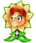 blush bubble_gum cute eyelashes eyewear female flora_fauna flower freckles goggles ja-jenny not_furry plant plants_vs_zombies solar_flare_(plants_vs_zombies) solo sunflower