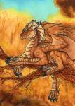 ambiguous_gender autumn branch day dragon feral horn lying membranous_wings on_branch on_front outside samantha-dragon smile solo spines traditional_media_(artwork) wingsRating: SafeScore: 15User: MillcoreDate: May 25, 2017