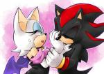 anthro bat clothing duo female fur hedgehog kissing male male/female mammal pokewanko rouge_the_bat shadow_the_hedgehog sonic_(series) video_games white_fur wings