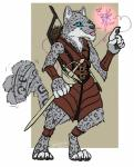 anthro armor blu_anubiz claws clothed clothing dungeons_&_dragons fairy feline heterochromia leopard mammal melee_weapon snow_leopard sword tabaxi weapon whitethorn_side-smile