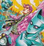 belt blue_body clothed clothing cloud detailed_background duo feline fully_clothed gloves hair hi_res hirohiko_araki human humanoid jojo's_bizarre_adventure killer_queen male mammal necktie official_art outside pink_eyes pink_hair sheer_heart_attack skull slit_pupils stand_(jjba) traditional_media_(artwork) watercolor_(artwork) yoshikage_kira