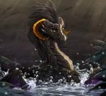2018 black_hair black_mane black_scales curved_horn detailed_background dragon female feral hair hi_res horn looking_at_viewer madam_reni_(twokinds) membranous_wings partially_submerged scales scalie solo telleryspyro twokinds water webcomic wet wings yellow_eyesRating: SafeScore: 15User: MillcoreDate: April 18, 2018