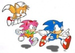 anthro blue_body blue_fur blue_hair canine female fox fox_tail fur group hair hedgehog low_res male mammal miles_prower multi_tail pink_fur pink_hair rosy_the_rascal simple_background sonic_(series) sonic_the_hedgehog unknown_artist white_background